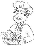 Baker with bread basket, contour. Cook - baker in a cap with a basket of tasty newly baked bread, contour Stock Image