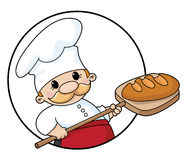 Baker with bread circle. Illustration of a baker with bread circle stock illustration
