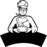 Baker and bread. A baker holding hot bread vector illustration