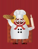 Baker with Bread and Rolling Pin Illustration Stock Image