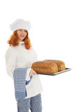 Baker with bread Royalty Free Stock Photography