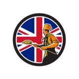 Baker britannique Union Jack Flag Icon de pizza Photo libre de droits