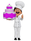 Baker with a cake, 3d Stock Photos