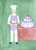 Baker with cake, drawing Royalty Free Stock Images