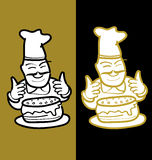 Baker and cake. A baker holding cake graphic style Royalty Free Stock Images
