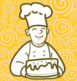 Baker and cake. A baker holding cake graphic style Stock Images
