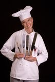 Baker with cake spatulas 1 Royalty Free Stock Image