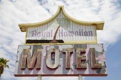 Arne`s Royal Hawaiian Motel Sign. Baker, California: Abandoned Arne`s Royal Hawaiian Motel sign. Photo taken on: 3rd September, 2017 Royalty Free Stock Image
