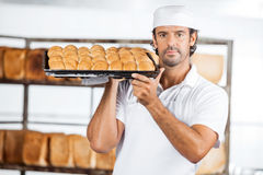 Baker Carrying Baking Tray On Shoulder At Bakery Royalty Free Stock Photography