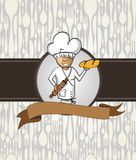 Baker chef cartoon menu badge Stock Photography