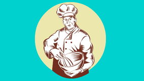 Baker Chef Cook Mixing Bowl Retro stock video