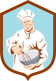 Baker Chef Cook Mixing Bowl Shield Retro Royalty Free Stock Photography