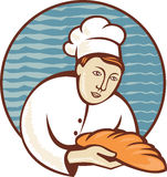 Baker chef with loaf of bread retro Royalty Free Stock Photo