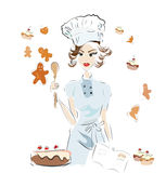 Baker Chef with a Recipe Book Stock Images