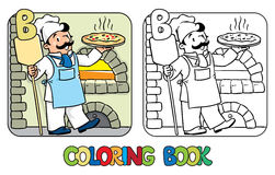 Baker coloring book. Profession ABC. Alphabet B. Coloring picture or coloring book of funny cook or pizza chef or baker near the wood stove. Profession ABC royalty free illustration