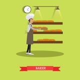 Baker concept vector illustration in flat style. Vector illustration of baker male holding tray with bread. Bakery or bakehouse and baked goods flat design stock illustration