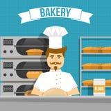 Baker Cooks Bread Design Image stock