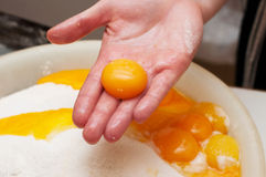 Baker cracking an egg. Royalty Free Stock Photo