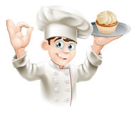 Baker with cupcake. Illustration of baker holding a tray with a cupcake on it Stock Image