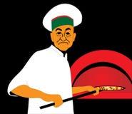 Baker dans l'uniforme avec la pizza Photographie stock libre de droits