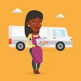 Baker delivering cakes vector illustration. Royalty Free Stock Images