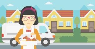 Baker delivering cakes vector illustration. Stock Images