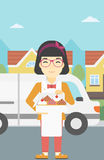 Baker delivering cakes vector illustration. Stock Image