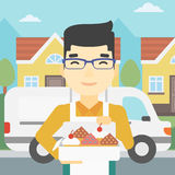 Baker delivering cakes vector illustration. Stock Photography