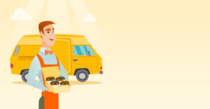 Baker delivering cakes vector illustration. Caucasian delivery man holding a box of cakes. Baker delivering cakes. Business man with cupcakes standing on the Royalty Free Stock Photography