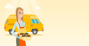 Baker delivering cakes vector illustration. Caucasian delivery woman holding a box of cakes. Baker delivering cakes. Business woman with cupcakes standing on Royalty Free Stock Photo