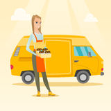 Baker delivering cakes vector illustration. Caucasian delivery woman holding a box of cakes. Baker delivering cakes. Young business woman with cupcakes standing Royalty Free Stock Photo