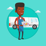 Baker delivering cakes vector illustration. Delivery man holding a box of cakes. Baker delivering cakes. Young man with cupcakes standing on the background of Stock Image