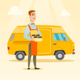 Baker delivering cakes vector illustration. Stock Photos
