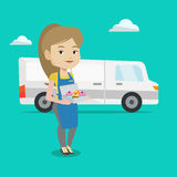 Baker delivering cakes vector illustration. Royalty Free Stock Photography