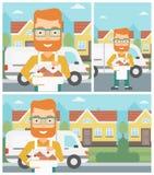 Baker delivering cakes vector illustration. Royalty Free Stock Image
