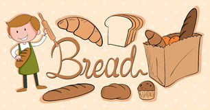 Baker and different kind of bread Royalty Free Stock Images