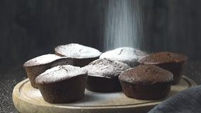 Baker dusting powdered icing sugar over delicious chocolate muffins. Close up stock video footage