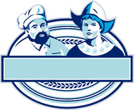 Baker and Dutch Lady Banner Oval Retro Stock Photo