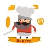 Baker en cake in formaat Royalty-vrije Stock Foto's