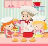 Baker et deux filles faisant le tarte cuire au four illustration stock