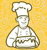 Baker et gâteau Images stock