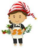 Baker et pain pour le jour de Noël Illustration Libre de Droits
