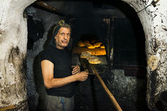 Baker in the Fez medina. Stock Photography