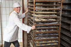 Baker filling oven in a bakery or bakehouse. Baker moving rack full of dough for bread, buns and pretzel into the oven in a bakery Stock Photos