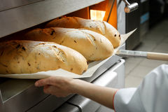 Baker gets hot bread out of the oven Royalty Free Stock Photography