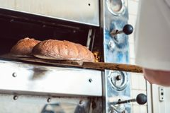 Baker getting fresh bread with shovel out of oven Stock Image