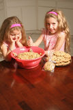 Baker girls. Shot of identical twin girls making chocolate chip cookies Stock Photography