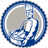 Baker Holding Basket Bread Loaf Retro Royalty Free Stock Image