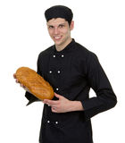 Baker holding bread stock photography
