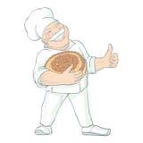 Baker Holding Bread Illustration de Moustached illustration libre de droits